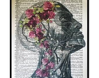 Anatomical Print, Anatomical Face, Floral Anatomical Print, Mixed Media 8x10 Dictionary Page Art, Anatomical Muscular Print, Artery Prints