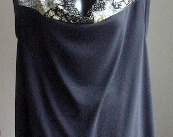 ON SALE-15% OFF- Simona G. New Design black colorblock Blouse Top  draped neck - Fits-sz L/Xl