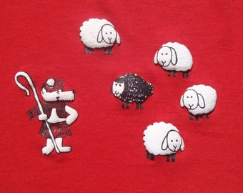 Vintage 1980s Red Puffy Sheep and Wolf T-Shirt L Russell Jerzees 50 50 Cotton Poly Blend