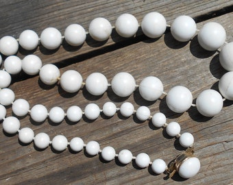Vintage chunky white necklace vintage marked Hong Kong 1950s jewelry Free USA Shipping