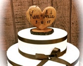 Rustic Wedding Cake Topper Wooden Heart Wedding Cake Topper Country Cake Topper