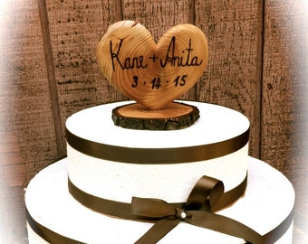 Heart Wedding Cake Topper - Rustic Wedding Cake Topper - Wooden Wedding Cake Toppers - Wedding Gifts