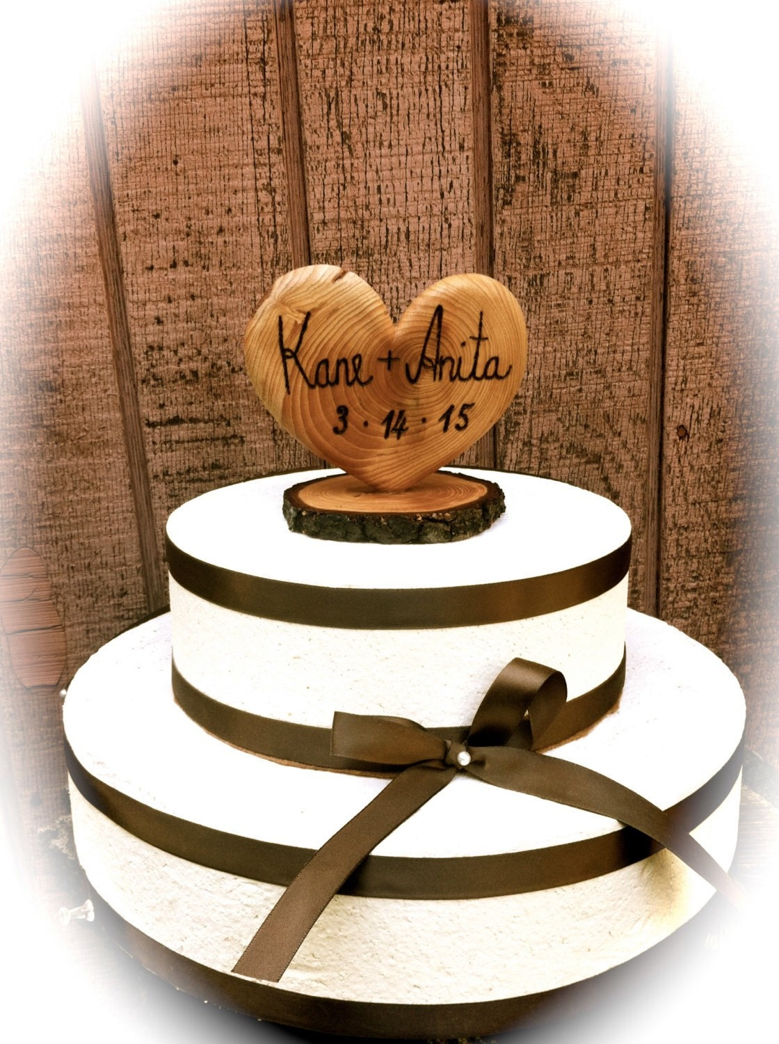 Heart Wedding Cake Topper Rustic Wedding Cake Topper
