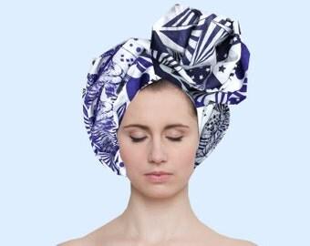 silk cotton scarf tiger blue