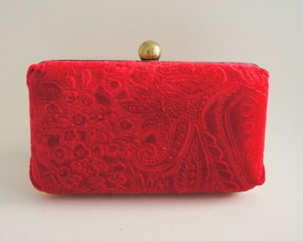 Gorgeous Red Velvet Vintage Style Minaudière Box Clutch - Evening/Bridesmaid/Prom/Wedding Purse - Includes Crossbody Chain - Made to Order