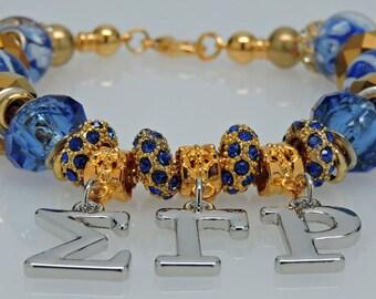 New Dangling SIGMA GAMMA RHO European Style Sorority Bracelet Blue Gold