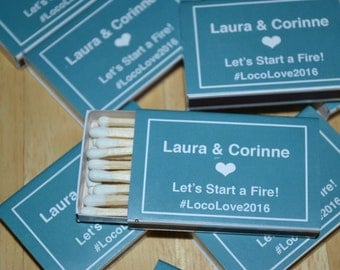 100 Custom Designed Matchbox Wedding Favors__Let's Start a Fire