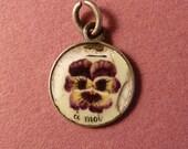 "Vintage French silver enamel Rebus  pansy  charm says "" Pensez à moi  ""think of me"" Antique jewelry"