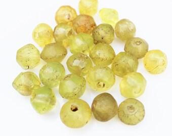 25 Yellow Vaseline Beads, African Trade Beads, Ethiopian Beads (P92)