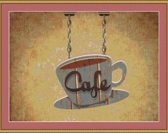 Cafe Sign Cross Stitch Pattern