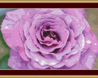 Pretty Pink Rose Cross Stitch Pattern