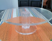 WOW vintage Lucite Cake Stand, clear acrylic, chunky n fun