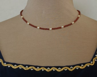 Carnelian and Mother of Pearl Bead Necklace