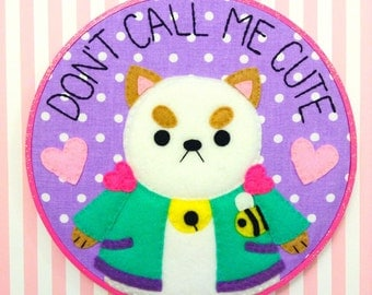 Bee and Puppycat Embroidery Hoop--8 inches