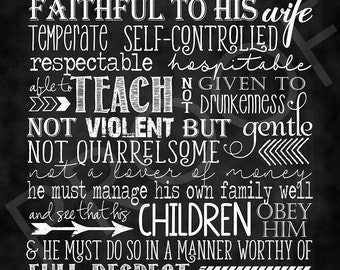 Scripture Art - I Timothy 3:2-5 ~ Chalkboard Style
