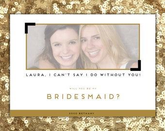 Bridesmaid Proposal Photo Card, Will You Be My Bridesmaid Personalized, Maid of Honor, Flower Girl, Ask Your Bridesmaid