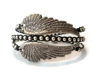Angel Wing Beaded Macrame Wrap Bracelet