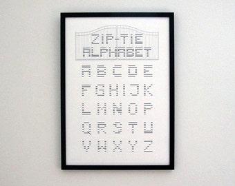 ABC alphabet, zip-tie alphabet, minimal alphabet, alphabet print, wall art alphabet, nursery wall art, digital art prints