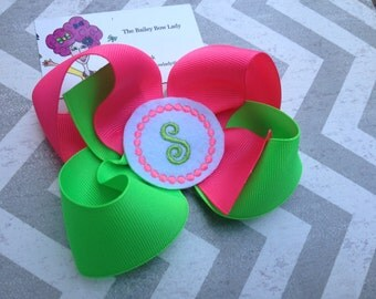 Monogrammed Neon Green and Pink Hair Bow
