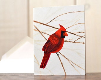 Cardinal Christmas cards, watercolor cardinal stationery set, northern cardinal notecard set, bird lover notecard, holiday hostess gift