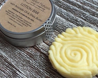 Solid Lotion Bar - Shea Butter Body Bar, Lavender & Lemon essential oils, Moisturizer, Body Butter