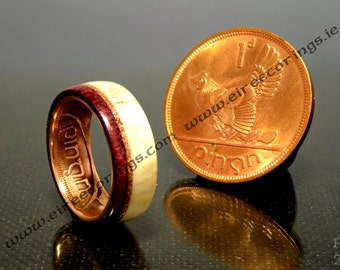 Irish coin wedding ring old penny and purple heart wood