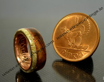 Jameson whisky barrel wood ring with deer antler and Irish penny coin