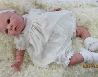 Reborn silicone baby dress set, embroidered roses  for 21-22 inch doll   CLOTHING ONLY!