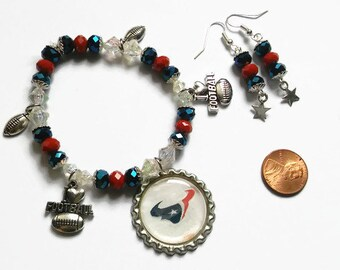 Houston Texans Cheer Bracelet, Texas Football, Houston Texans, Red White and Blue, Patriotic, bottle cap charms, Football jewelry sets, Gift