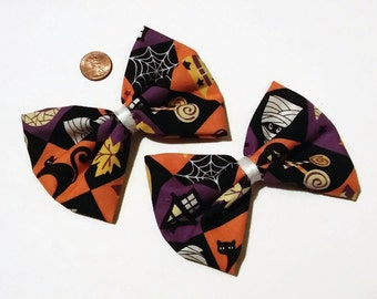 Whimsical Halloween Bows, Halloween Bows, Pigtail bows, fall bows, mummies, hair bows for girls, gift ideas, halloween costume, spooky bows