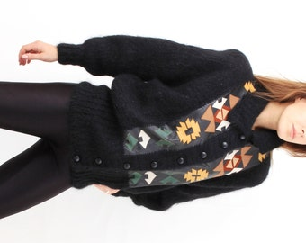 Black Mohair and Leather Cardigan