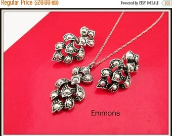 Emmons Necklace earring set of silver and Marcasite -clip on earring-mid century