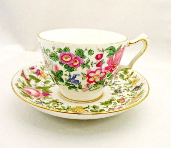 Crown Staffordshire Floral tea cup and saucer fine Bone China