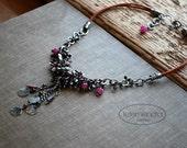 Rubies and Garnets Cluster Necklace Short Choker Beaded Gemstones Burgundy Boho Chic Elegant Jewelry by Letemendia