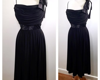 Black Midi Dance Dress Vintage 1980s Draped Bust Faux One Shoulder Wedding Guest Dress Fit and Flare Midi Cocktail Dress Small