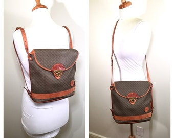 Vintage 1980s Guy Laroche Leather Backpack Tan  Brown Leather Canvas Convertible Crossbody Bag Monogrammed Handbag Purse Guy Laroche Paris