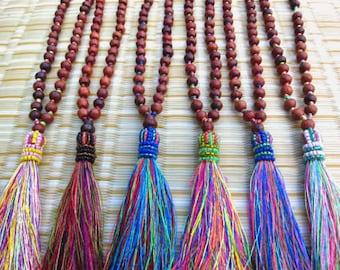 "Beaded Tassel Necklace Long Beaded Silky Tassel Necklace Wooden Beads Luxury Silk Tassel Necklace 3"" Tassel Assorted Designs"