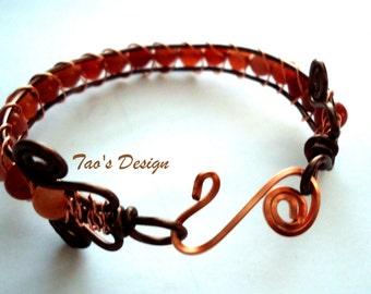 Wire wrapped copper bracelet, gemstone  bracelet, bracelet wired bracelet , SB-003
