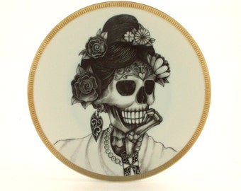 Geisha Altered Vintage Plate Sugar Skull Porcelain Day of the Dead Mexico Halloween Dios de los Muertos Wall Decoration