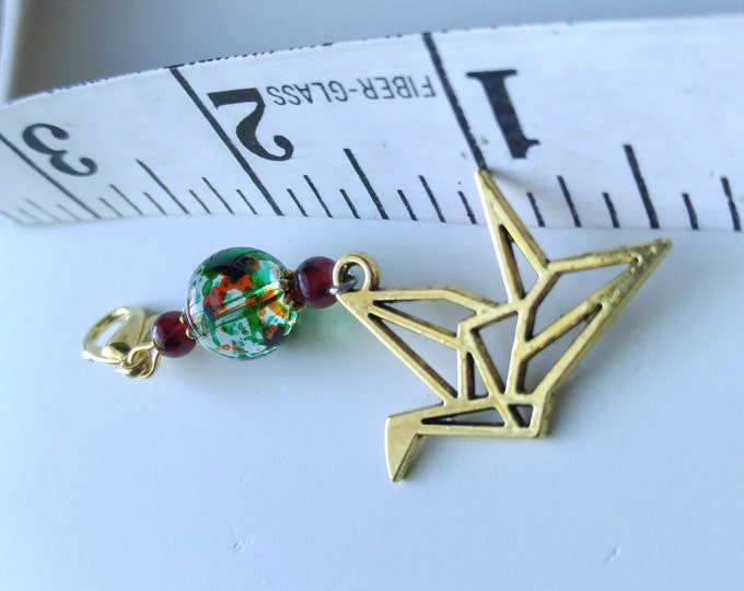 Paper Crane Keychain Charms, Gold origami charm, Hope and Healing, Wish, glass bead, garnet bead, gold lobster clasp, friendship gift #86