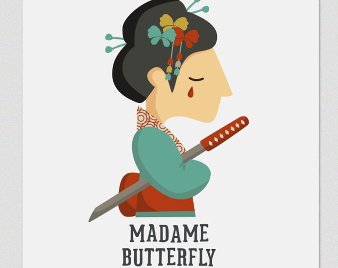 Illustration. Madame Butterfly. Print. Wall art. Art decor. Hanging wall. Printed art. Decor home. Gift idea. Sweet home. singer