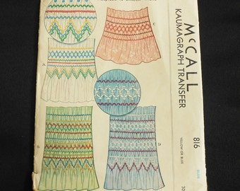 McCall's pattern 816 Kaumagraph Transfer Smocking Pattern Blue 1940 Partly Used