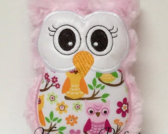 Ready to Ship---Light Pink Plush Mini Owl Rattle -NOT PERSONALIZED......LAST One