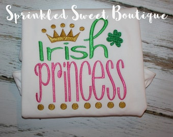 Irish Princess Shamrock St. Patty's Patricks Day Applique Monogram Name Girl Baby Shirt First St Patricks Day