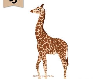 Digital Clipart-Clipart Singles-Giraffe-Zoo Animals-Giraffe Clipart-Image-Digital Scrapbook Element-PNG-Instant Download Clip Art
