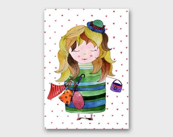 Fashion wall art Nursery art Fashion girl Fashionista Girl painting kids Girl illustration Childrens wall art for Kids room paintings