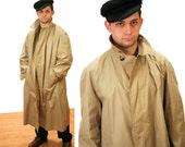 50s Classic Vintage British Trench Coat, Wm Filene's Sons Co, English Rain Coat, Size L, XL