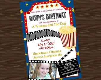 Movie Theater Birthday Party Invite, Custom, 5x7, pdf File, JPEG File, Printed, Movies Party, Movie Theater, Popcorn, Cinema, Custom
