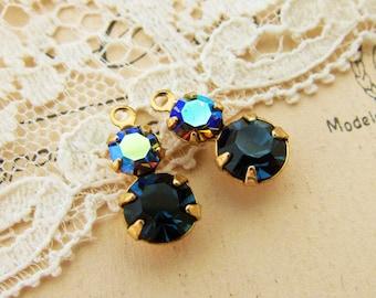 Petite Rhinestone Duo Drops Montana Blue & Vitrail Swarovski Crystal Drops Dangles – 2