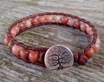 pink lepidolite beaded leather wrap bracelet for heart chakra with tree button ladies